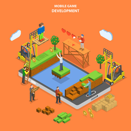 Mobile game development flat isometric vector concept. Developers team build virtual world of mobile game.