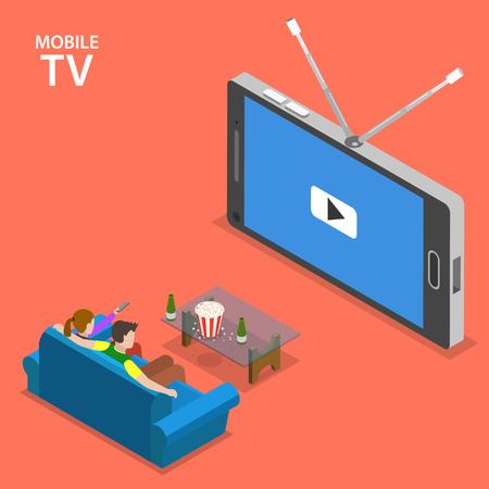 die: Mobile TV isometric flat vector illustration. Boy and girl sit on the sofa and watch TV set that looks like mobile phone.