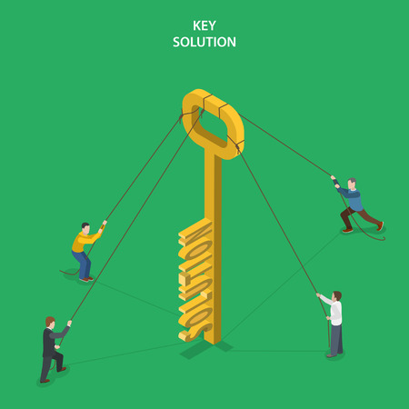fixed: Key solution isometric flat vector concept. People are holding fixed the key with word SOLUTION on it.