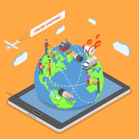 온라인 쇼핑 평면 아이소 메트릭 벡터 개념. 전 세계의 사람들은 태블릿에서 돌출 지구 모델에 머물고 온라인 상점을 사용하여 구매를.