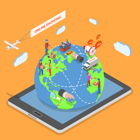 Online shopping flat isometric vector concept. People around the world make purchases using online stores staying on the Earth model that protrudes from tablet.