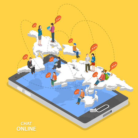Chat online isometric flat vector concept. Isometric model of earth continents are hovering over the smartphone with chatting people on it. Иллюстрация
