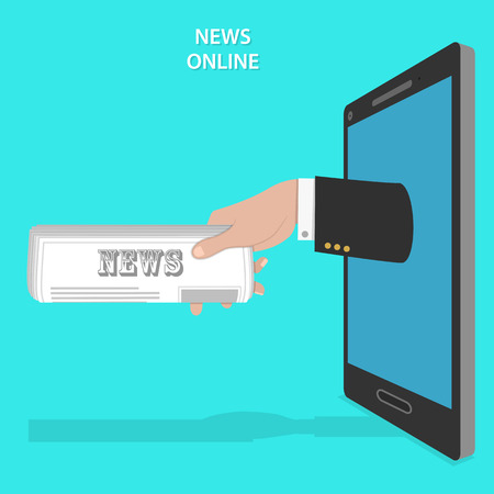 newspaper roll: Online news service flat vector concept. Mans hand with newspaper roll appears from smartphone screen.