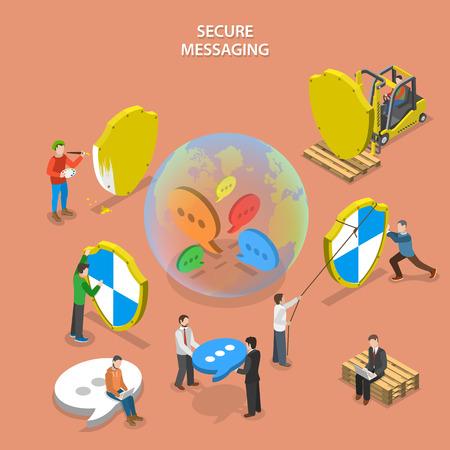 보안 메시징 등각 투영 평면 벡터 개념. 사람들은 글로벌 보호 메시징 시스템 (인스턴트 메신저, 소셜 네트워크 등)을 구축하고있다