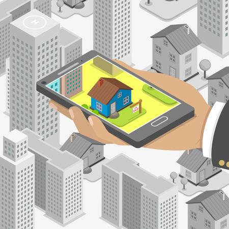 conclusion: Inmobiliaria en línea busca isométrica vector concepto plana. Hombre con smartphone está buscando una casa para comprar o para alquilar, utilizando el servicio de búsqueda en línea. Vectores