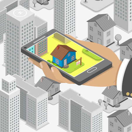 rent house: Real estate online searching isometric flat vector concept. Man with smartphone is looking for a house for buying or for rent, using online searching service.