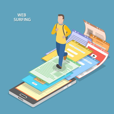 Web サーフィンのアイソメ平面ベクトル概念。バックパックを持つ男性はスマート フォンで実行され、web ページが彼の足の下から飛んでいます。