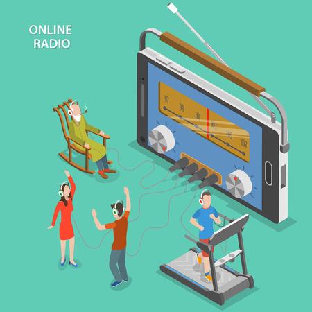 Online radio isometrisch plat vector concept. Mensen online radio luisteren terwijl het hebben van een rust, dansen, gaan in voor sport. Stock Illustratie