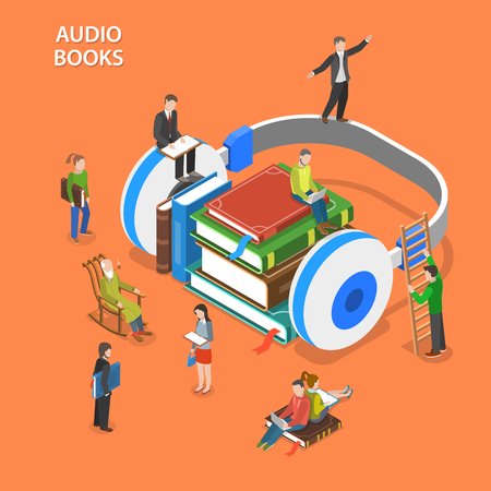 audio book: Audio books listening isometric flat vector concept. Pile of books and earphones are laying on the floor and people around them are reading and listening books.