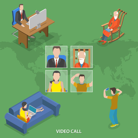 conference call: Video call isometric flat vector concept. People around the world are talking using online video call service.