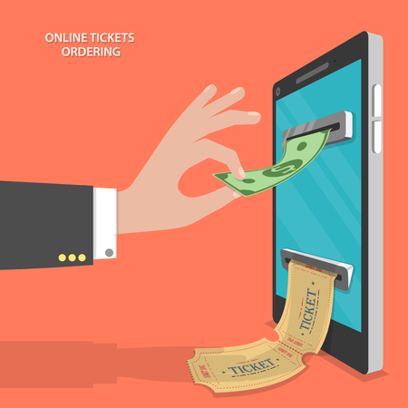 Online tickets ordering flat vector concept. Mans hand put banknote to the currency detector that located on the smartphone screen, and gets tickets.
