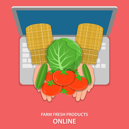 appear: Online farm products ordering flat vector concept. Farmers hand with vegetables appear from laptops screen.