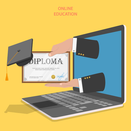 online book: Online education flat vector concept. Hands with diploma and graduation hat appeared from laptop screen.