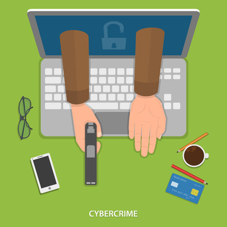 crook: Cybercrime flat vector concept. Hands of robber with gun appeard from laptops screen. Illustration