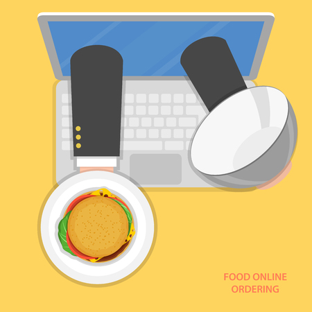 ordering: Online food ordering flat vector concept. Delivery man hands with burger on tray appeared from laptop screen.