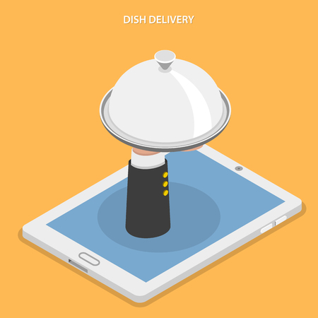 customer service: Dish delivery flat isometric vector illustration. Hand of water with dish appeared from laying tablet.