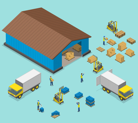 distribution: Warehouse isometric flat vector illustration. Process of loading and unloading of of trucks by workers near a warehouse.