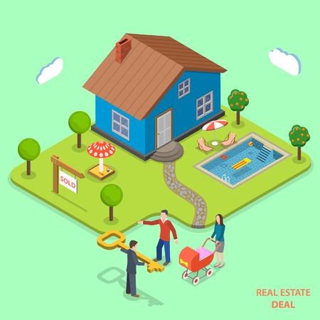 Bienes raíces mucho isométrica vector concepto plana. El agente da la clave para familia joven que acaba de comprar la casa. Ilustración de vector