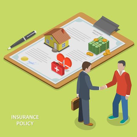보험 계약 평면 아이소 메트릭 벡터 개념입니다. 보험 에이전트는 클라이언트와 계약을하고 손을 흔들.