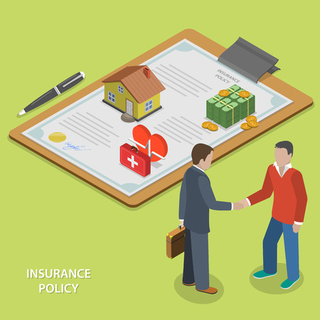 client: Insurance policy deal flat isometric vector concept. Insurance agent makes deal with client and shakes his hand. Illustration