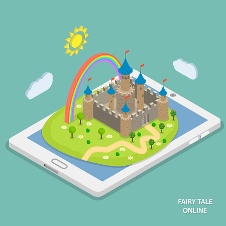 fairytale background: Online fairy tale reading isometric flat vector concept. Fairy tale landscape with castle and rainbow laying on tablet.