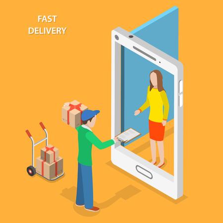 Entrega rápida plana vector concepto isométrico. El Correo se queda con la parcela cerca de la puerta que se ve como un teléfono inteligente y da el paquete al cliente.