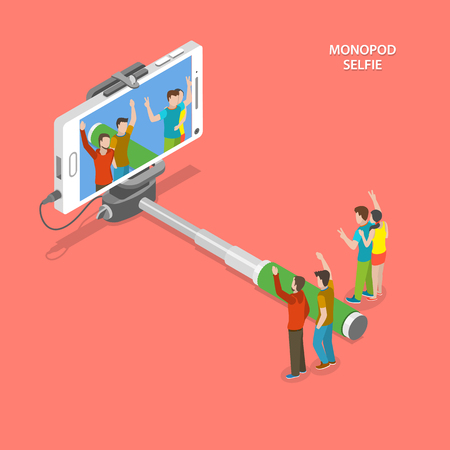 camera phone: Selfie monopod isometric flat vector concept. Friends are taking a photo using smartphone with selfie monopod. Illustration
