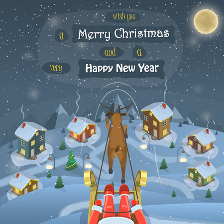 snowed: Santa is flying over the snowed up village by sleigh harnessed with a deer. Illustration