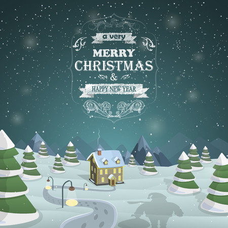 Santa shadow against the snowed up forest and illuminated house with Merry Christmas greeting Illustration