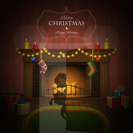 fireplace home: Decorated fireplace on Christmas Eve vector illustration