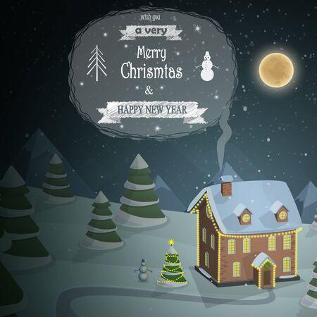 blue roof: Christmas evening landscape background illustration