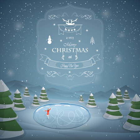 patín: Saludos Feliz Navidad contra el fondo del nevado hasta bosque, lago congelado y una niña de patinaje.