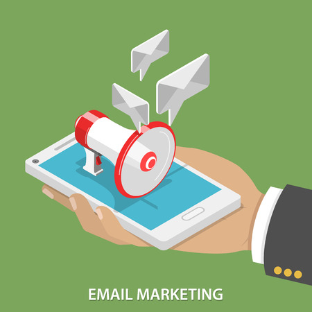 Email Marketing Flat Isometric Vector Concept. Mans hand takes a smartphone with megaphone and soaring e-mails like speech bubble on it. Illustration