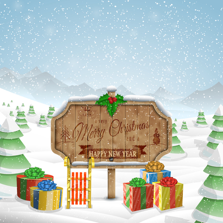 christmas greeting: Christmas greeting board vector illustration.  Merry Christmas greetings on wooden board, gifts and sleigh against the background of snowed up forest, and mountains.
