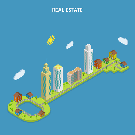 Real estate isometric flat vector concept. City buildings that stays on the huge green key. Searching houses, apartments, offices for rent and sale.  イラスト・ベクター素材