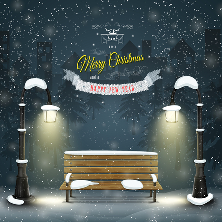 Christmas city landscape with greeting vector illustration. Merry Christmas and Happy New Year greetings against the background of snowed up park with bench and and lampposts.