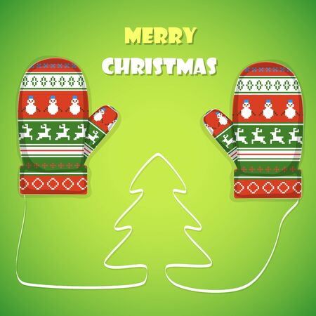 postcard background: Christmas postcard vector illustration. Merry Christmas greetings  with 2 mittens and lace like a Christmas tree between them.