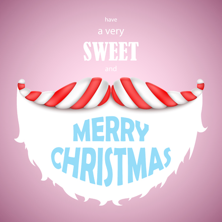 sweet: Sweet Merry Christmas vector illustration. Santa moustache made of candy with Merry Christmas greeting.