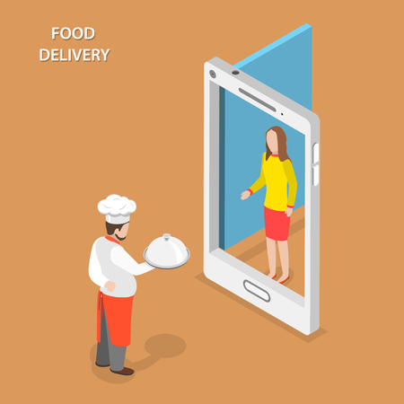 Delivery: Food delivery flat isometric vector concept. Chef stays with the dish on his hand near the door that looks like a smartphone and gives the it to the woman.