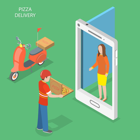 phone: Pizza delivery flat isometric vector concept. Pizza courier stays with the box near the door that looks like a smartphone and gives it to the customer. Illustration