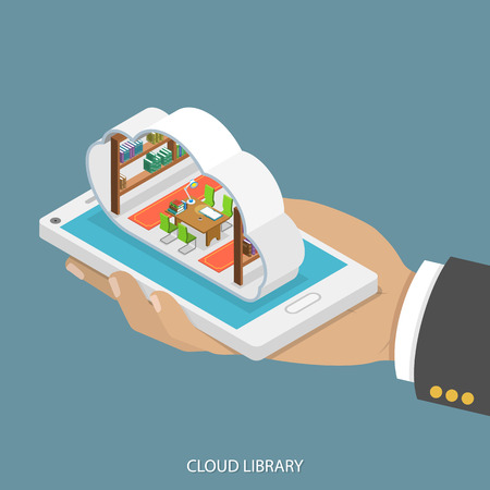 Cloud library flat isometric vector concept. Mans hand takes a smartphone with libary with shelves of books inside a cloud. Reading, learning online, Vettoriali