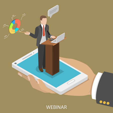 Web conference flat isometric vector concept. Mans hand takes a smartphone with webinar speeker on it.