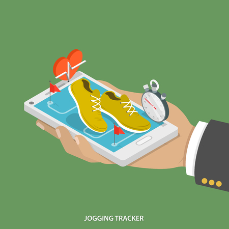 trainer device: Jogging tracker flat isometric concept. Mans hand takes a smartphone with sneakers, stopwatch, image of heart and running route on it. Illustration