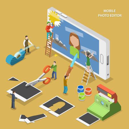 Mobiele foto-editor platte isometrische vector concept. Mensen maken en beeld op smartphone met behulp van foto's, plakband en verf.