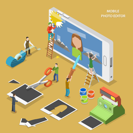 Mobile photo editor flat isometric vector concept. People create and image on smartphone using photos, sticky tape and paint. Illusztráció