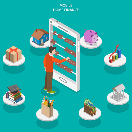 Home finance flat isometric vector concept. A man use counting frame that looks like smartphone surrounded accounting and investments icons.