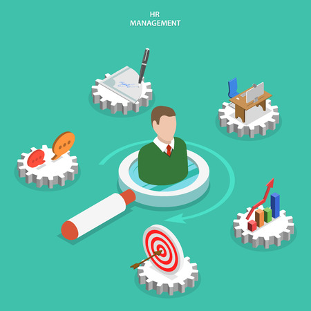 human resource management: HR flat isometric vector concept. A mans bust on magnifying glass surrounded by human resource management icons. Illustration
