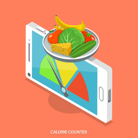 calorie: Calorie counter flat isometric vector concept. Smartphone like scales that show food calorie count.