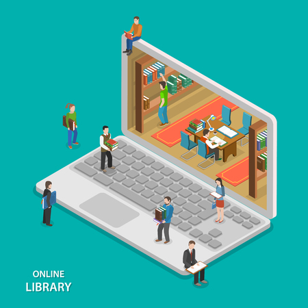 libraries: Online library flat isometric vector concept. People near and inside library that looks like laptop. Education, reading, learning online.
