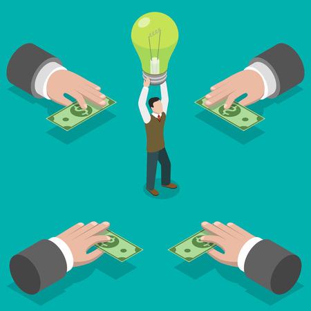クラウドファンディング フラット等尺性ベクトル概念です。手は頭の上の電球を取る人にお金を与えます。 アイデアに投資。